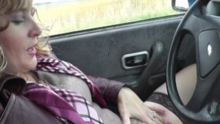 Naked in public. Naked in car. Woman masturbating in car Close up pussy POV