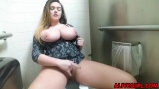 Bigtitted BBW TaylorM masturbates in a public WC
